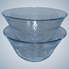 2 Fire-King Sapphire Blue Glass Shallow 6 oz. Custard Cups / Bakers