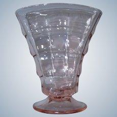 Party Line Pink Glass Fan Vase by Paden City c. 1930s