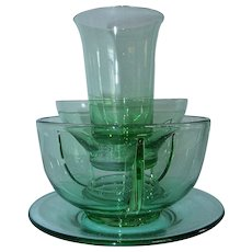 Fostoria Green Glass Cocktail Icer Dish Juice Tumbler Bowl Plate (s)