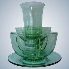 Fostoria Green Glass Cocktail Icer Dish Juice Tumbler Bowl Plate (s)