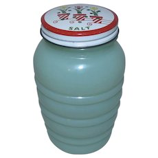 Anchor Hocking Fire-King Jadeite Glass Tulip Range Salt Shaker