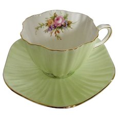 E B Foley English Bone China Teacup and Saucer Pastel Green w/ Floral