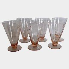 6 Pink Panel Optic Parfait Tea Dessert Glasses