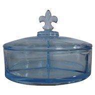 Azure Blue Glass Confection Box with Fleur-de-lis Lid
