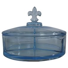 Azure Blue Glass Confection Box with Fleur-de-lis Lid