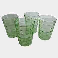 "4 Green Depression Uranium Glass Block Optic 5-3/4"" Tumblers"