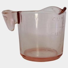 Left-Handed Pink Depression Glass Measuring Cup by U.S. Glass Co.