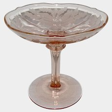Tiffin Art Deco Pink Glass Juno Poppy Tall Comport 1920s - 1930s