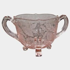 Tiffin Art Deco Pink Glass Juno Poppy Footed Sugar Bowl