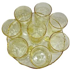 8 Yellow Floral Elegant Depression Glass 8 oz. Tumblers and Tray