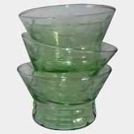 Green Elegant Depression Glass Flower Etched Bowls