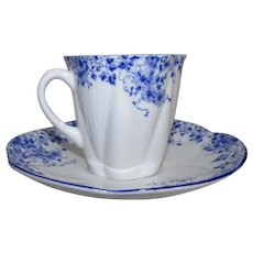 Shelley Dainty Blue Fine English Bone China Demi Demitasse Teacup Saucer