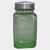 Green Depression Glass Embossed Range Pepper Shaker 1930s Hazel-Atlas