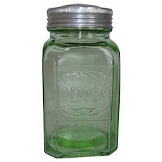 Green Depression Glass Embossed Range Pepper Shaker 1930s Hazel-Atlas