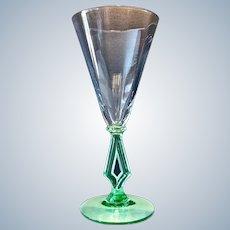 Morgantown # 7640 Optic Glass 8 oz. Water Wine Art Moderne Goblet 1930s