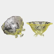 2 Cambridge Glass Yellow GLORIA etched 4 Footed Nut Bowls/ Salt Cellars Signed