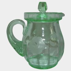 Aqua Green Rose Etched Glass Syrup Pitcher 1930s