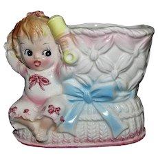 Ceramic Rubens Baby Girl Nursery Bootie Planter 1950s