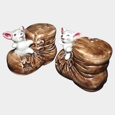 Playful Vintage Ceramic Mice in Boots Salt & Pepper Shakers