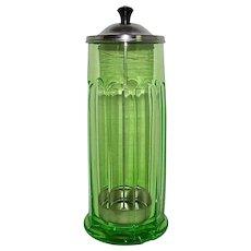 Green Depression Glass Straw Dispenser Holder 1920s - '30s