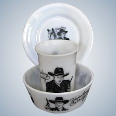 Hopalong Cassidy Milk Glass Cereal Bowl, Plate, Cup