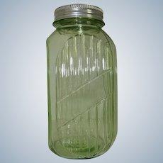 Hocking Green Depression Glass Hoosier 40 oz. Sugar Coffee Canister Jar
