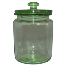 Hocking Green Depression Glass 8 oz. Kitchen Hoosier Jar