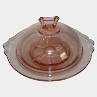 Cambridge Pink Glass DRAINER, BUTTER Dish & COVER Elegant Depression