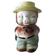 Vintage 1950s Kitchen Western Pig Sheriff Cowboy Ceramic Cookie Jar USA