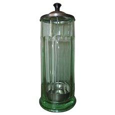 Vintage Diner Bar Kitchen Green Glass Straw Holder Depression Era