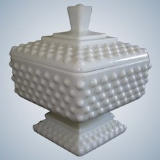 Milk Glass Hobnail Vanity Powder Jar / Footed Candy / Kitchen Storage / Confection Box with Lid