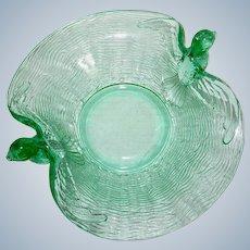 Green Depression Art Glass Hummingbird Bird Bowl Nest Fenton c. 1930s