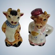 Vintage French Chef Ceramic Cow Bull Salt & Pepper Shakers Japan 1950s Mid Century Kitchen