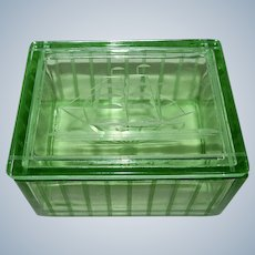 Green Depression Era Uranium Glass Cigarette / Trinket Box 1930s w/ Sailboat Etch