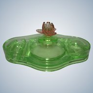 Cambridge Art Deco Pink / Green / Watermelon Glass Vanity Dresser Box Compact w/ Rose Finial Depression Era 1930s