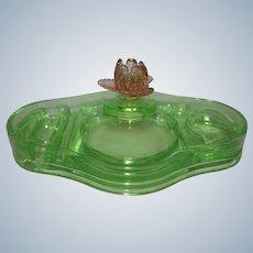 Cambridge Art Deco Pink / Green / Watermelon Glass Vanity Dresser Box Compact w/ Rose Finial Depression Era 1930s