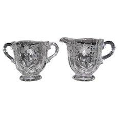 Vintage Fostoria Glass Meadow Rose Baroque Crystal Creamer Sugar Bowl
