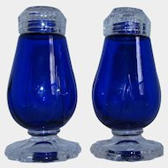Cambridge Cobalt Blue Glass Footed Salt Pepper Shakers
