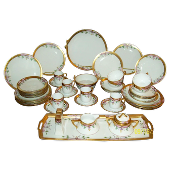 Victorian Luncheon Set - Gold and Floral Motif