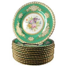 Mintons (Minton) Signed Dinner Plates -Set of 12, (Green and Gold)