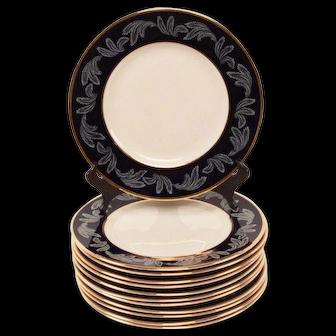 Cobalt and Gold Banded Dinner Plates