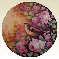 """Vintage 8"""" Limoges Porcelain Powder/ Dresser Box signed BertaP"""