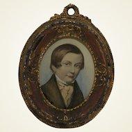 Georgian Miniature Watercolor Painting Of Young English Gentleman. C.1800
