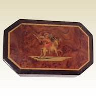 Antiques French Marquetry Trinket Box Goat/Cherub. .1890