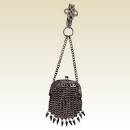 Antique 19th Century Steel Cut Chatelaine Purse. c1850