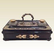 19th Century Ebonised/Brass Writing Stand. C.1880
