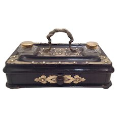 19th Century Ebonised/Brass Writing Stand. C.1880