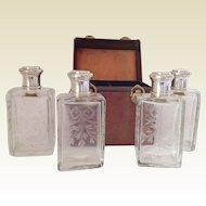 French Antique Traveling Case/Stirling Silver Cologne/Perfume Bottles. Paris. C.1889