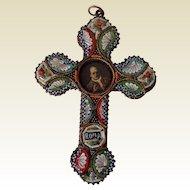 Vintage Italian Micro Mosaic Cross/Pope Pius Xl