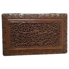 Antiques Sandalwood Carved Box. C.1910